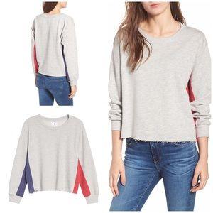 EUC SUNDRY Colorblock Terry Raw Hems  Sweatshirt